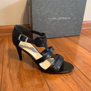 Via Spiga Hilda black calf sandal heels